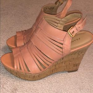 Salmon color heels. Worn only once.